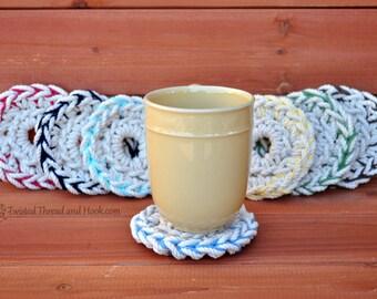 2 Color Rope Coasters - Natural Coasters - Nautical Coasters - Beach Decor