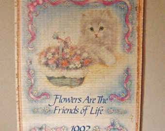 Kittens and Puppies Bamboo Calendar, 1992 Giftco Calendar, Reversible 1993 Calendar, Two Year Calendar