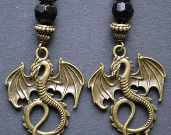 Gothic dragon earrings, fantasy clip on dangle earrings with pendant