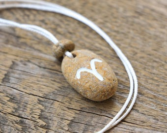 Sea stone jewelry pendant necklace zodiac jewelry aries necklace engraved necklace for women necklace for men personalized necklace aries