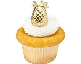 Pineapple Cupcake Pick, Summer Cupcake Picks, Gold Pineapple Cupcake Topper, Pineapple Cake Topper, Cake Decorating, Cupcake Decorations