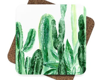 Cactus Coasters, set of 4, set of coasters, green coasters, succulent coaster, plant lover gift, cactus gift, cactus coaster, green coaster