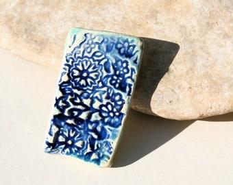 ooak pendant, blue pendant, blue flowers, handmade ceramic supply bead