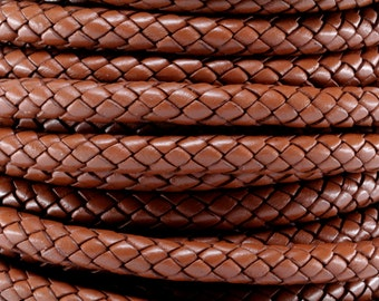 1 Yard / 3 Feet of 8MM Brown Braided Round Bolo Leather Cord