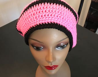 Pink & Black Slouchy Beanie
