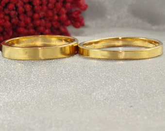 Set Of Wedding Bands ,Solid 14K Gold  Band , Hammered Wedding Ring - Handmade Ring - Man& Women's Gold ring - 14k solid gold ring