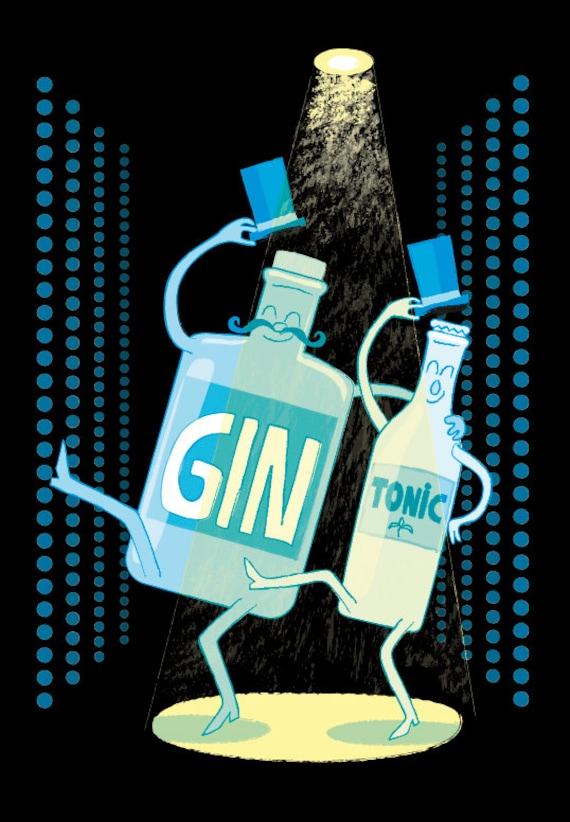 Gin Tonic. MARCO INCLUIDO. Copia Giclée firmada y numerada.