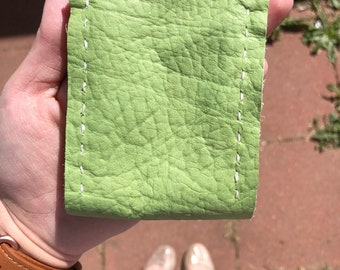 Green leather card case