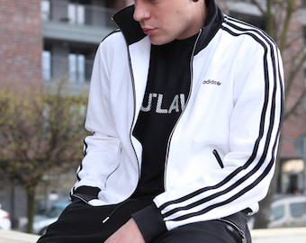 Vintage 90's adidas Originals Black White Tracksuit Jacket