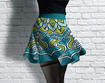 Mandala Scuba Skater Skirt