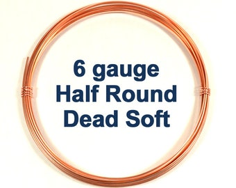 6ga 10ft HR DS Half Round Copper Wire - Choose Your Length