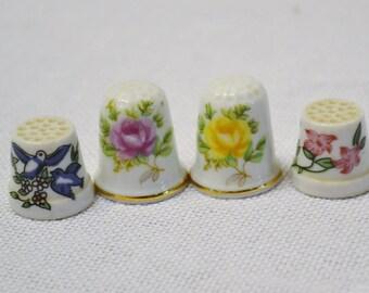 Vintage Thimble Set of 4 Floral Design Collectible Porcelain Thimble Set Japan PanchosPorch