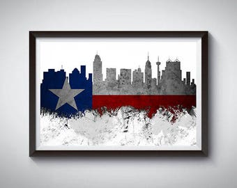 San Antonio Inspired Art Poster Print, Houston, San Antonio Skyline Poster, Texas Strong