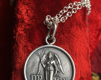 Virgo Medal Necklace Pendant Vintage French  Hallmarked Sterling Silver Zodiac Astrology Amulet Talisman