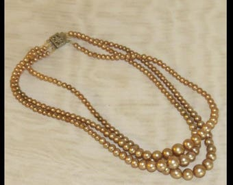 PEARL Necklace Downton Abbey Necklace 1930s BeigeTriple String of faux Pearls