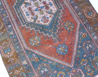 "5'x3'1"" Golden Brown Blue and Red Traditional Vintage Turkish Rug"