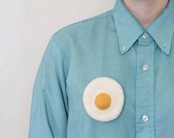 Fried Egg Felted Brooch