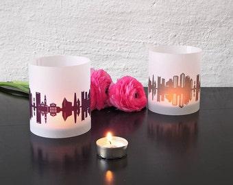 BOSTON lantern skyline print, 2 atmospheric tablelight, Unique Present, custom decor, decor garden party, wedding decoration, housewarming