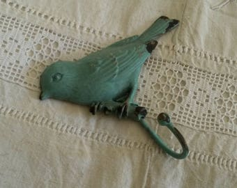 Old metal coat rack / coat rack / towel hook / bird decor / shabby and romantic style