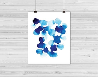 Abstract blue watercolor printable
