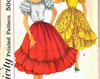 Simplicity 1909 Junior Miss or Teen Square Dance, Ruffle Sleeve Peasant Blouse and Full Ruffled Skirt Sewing Pattern Size 11 Vintage 1950's