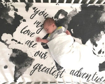 Map Crib Sheet or Swaddle Blanket, Mod // Aspen Lane EXCLUSIVE // Black & White, Gray, Grey Greatest Adventure, baby sheet