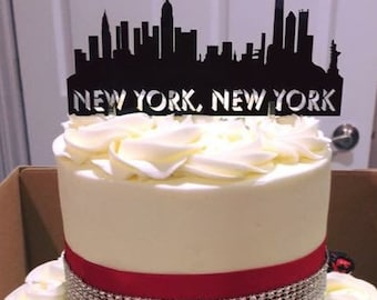 New York City Skyline Cake Topper & Keepsake - For the City Wedding, New York City Skyline and Your Name or Phrase