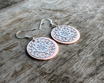 Women earrings, Fashion earrings, Rose gold earrings, Rose gold and filigree earrings, Rose gold disc earrings, Disc earrings, Coin earrings