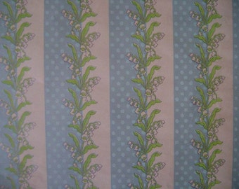 Vintage Wedding Gift Wrap 1980s Wrapping Paper--2 Sheets NIP--Lovely Lillies of the Valley