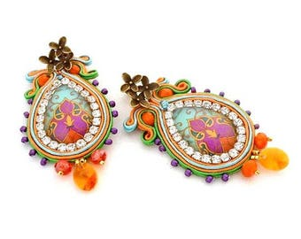 statement jewelry , teardrop colorful chandelier  sparkling  bead embroidered long clip on earring , soutache statement crystal  earrings