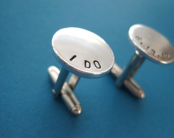 Personalized Cuff Links - Wedding Date - Hand stamped aluminum cuff links