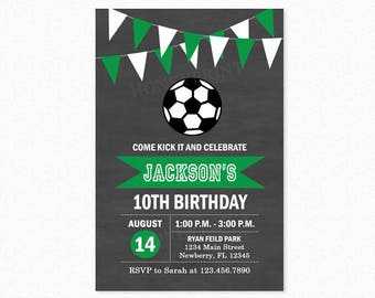 Soccer Birthday Party Invitation, Futbol Birthday Party Invitation, Green, Soccer Boy, Personalized, Printable and Printed