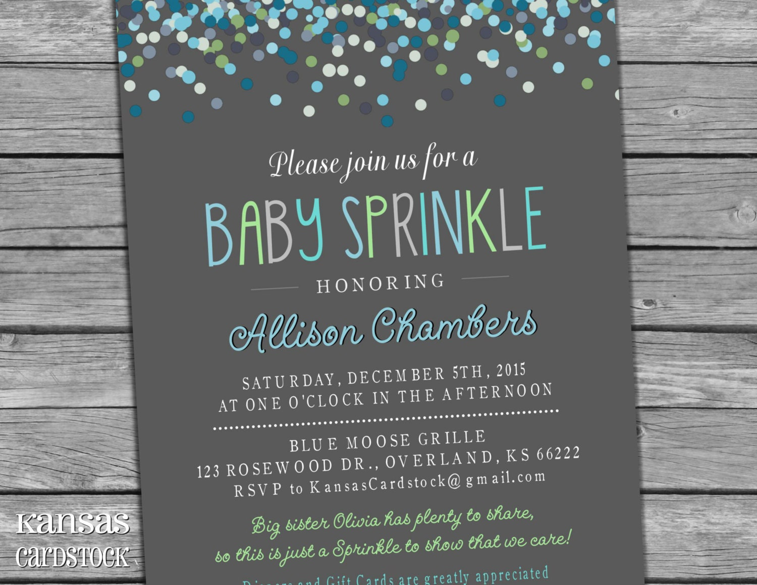 Boy Sprinkle invitation Baby Boy Sprinkle shower blue green