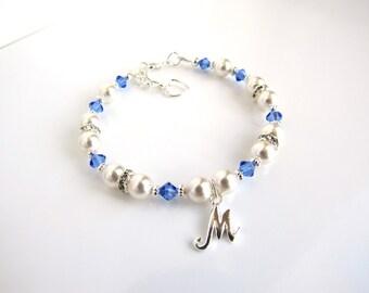September Birthstone Bracelet, Childrens Birthstone Jewelry, Child Bracelet Personalized, Childrens Jewelry, Sapphire Birthstone Bracelet