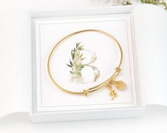 Inspirational Gift for Her, Raw Crystal, Gold B Monogram Initial Bracelet, Tiny Birthstone Charm Bracelet, Customized Bangle, New Mom Gift