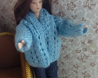 1/12th scale hand knitted blue lady's cardigan