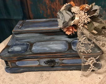 Shabby Chic Distressed Jewelry Box Storage Organizer Valet