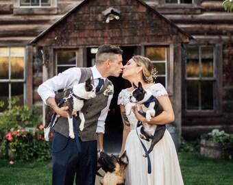 Navy Layered Dog Bow Tie - Optional Leash - Wedding Dog - Ring Bearer