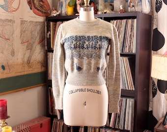 cropped 1970s sweater, womens size small . swan lake space dye sweater by Sunny-Tops