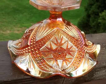 Vintage Marigold Carnival Curved Star Scroll Embossed Compote Imperial Glass
