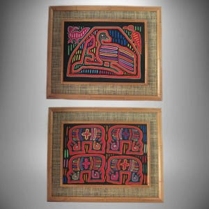 A pair (2) Handcrafted Molas Kuna/Guna Indian San Blas Folk Art Framed Tapestry