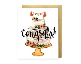 Congrats Wedding Cake - Congratulations Wedding Card - Hand Painted Illustrated Design - Wedding Card - For the Bride and Groom