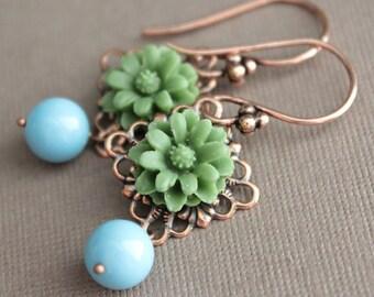 Copper Earrings - Green Flowers - Swarovski Turquoise Pearls