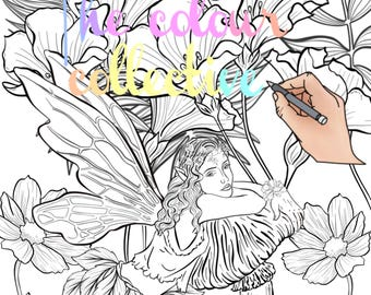 Adult colouring page/ Digital stamp printable download
