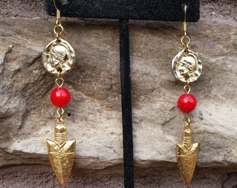 War Bride- Red Coral Bead Arrow Charm Dangle Earrings