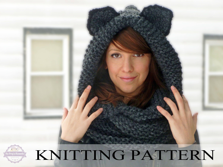 KNITTING PATTERN Hooded Cat Cowl Cat Ears Hooded Infinity