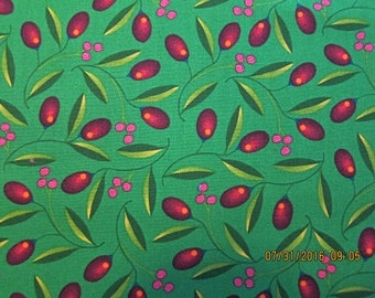 ANDOVER FABRIC Cranberry Harvest Home - Nancy Davis Murty for Andover Fabric RARE -  1 Yard - #F2