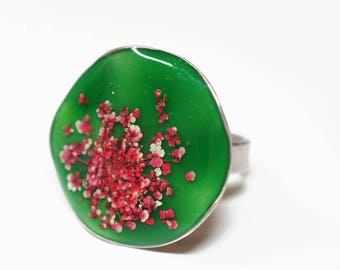 Real red lace flower waved ring -  adjustable size