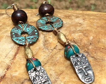 African Brass and Face Charm Drop Earrings
