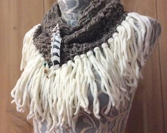 Heather Brown Snowy Owl cowl... knit crocheted fringed yarn soft scarf leather tie bohemian boho